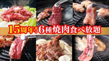 《もうすぐ15周年記念!》6種焼肉食べ放題!3,880円→クーポンご利用で2,980円(税込3,278円)